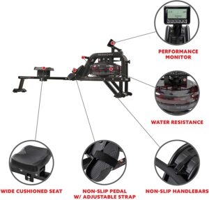 Sunny Health & Fitness Obsidian Surge 500 Water Rowing Machine